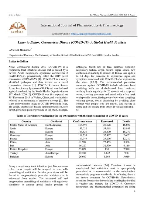 (PDF) Letter to Editor: Coronavirus Disease (COVID-19): A