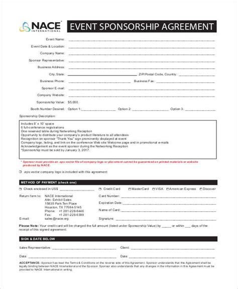 7 Sponsorship Agreement Form Sles Free Sle Exle Format Download Event Sponsorship Contract Template