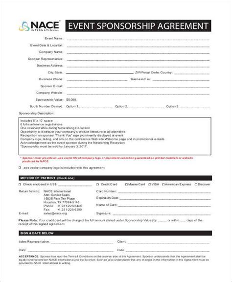 sponsorship donation form template 7 sponsorship agreement form sles free sle