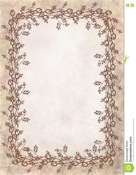 Hand Drawn Textured Floral Background Crumpled Paper With Rose And Leaves Template For Letter Or Letter Background Template