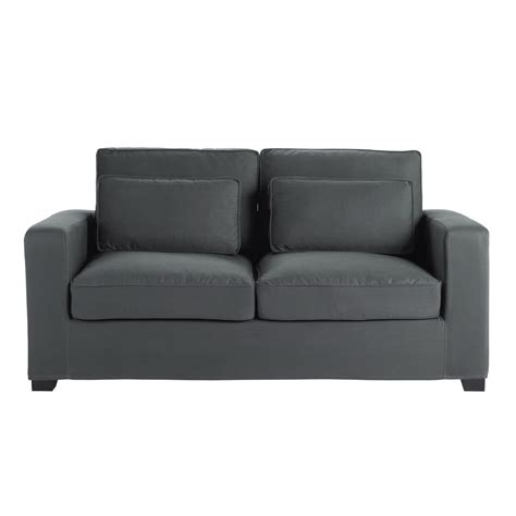 slate grey couch 3 seater cotton sofa in slate grey milano maisons du monde
