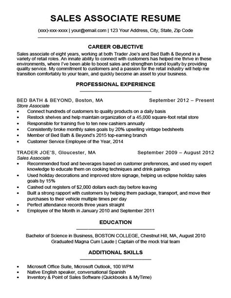 Resume For Sales Associate by Sales Associate Resume Sle Writing Tips Resume