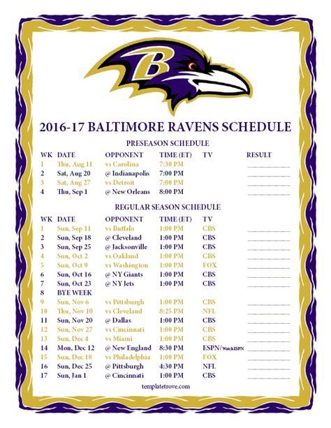 printable 2016 2017 baltimore ravens schedule