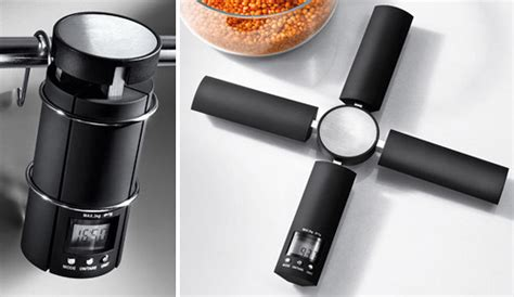 designer kitchen scales foldable kitchen scale maximizes counter space ohgizmo