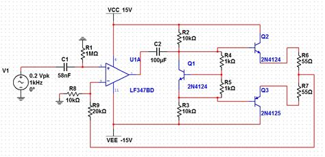 transistor lifier distortion transistors is this class ab design ok i get distortion at the output electrical
