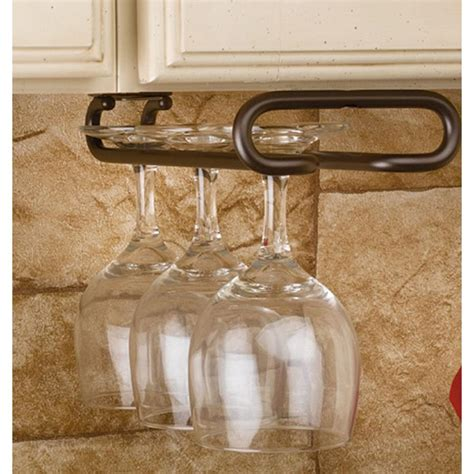 under cabinet wine glass holder rev a shelf 1 5 in h x 4 25 in w x 11 in d oil rubbed