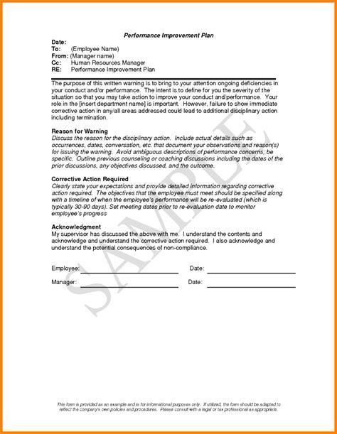 Performance Improvement Plan Letter Template Exles Letter Cover Templates Employee Performance Improvement Plan Template