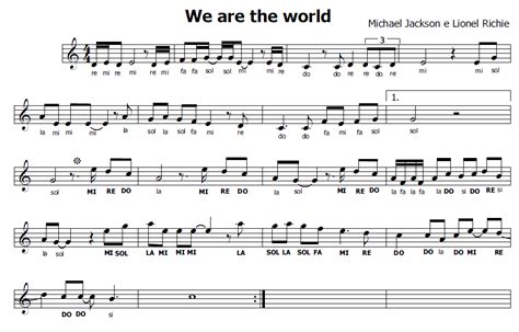 testo we are the world musica e spartiti gratis per flauto dolce we are the world
