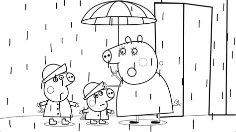 peppa pig mummy coloring pages peppa pig mummy pig rain coloring book pages kids fun