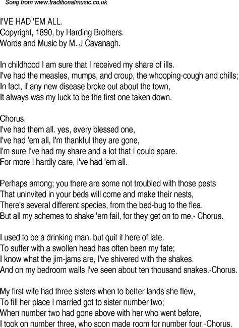 Old Time Song Lyrics for 27 I've Had Em All