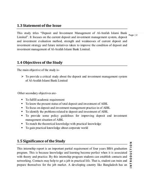 Investment Management Mba Internships internship report on deposit and investment management of