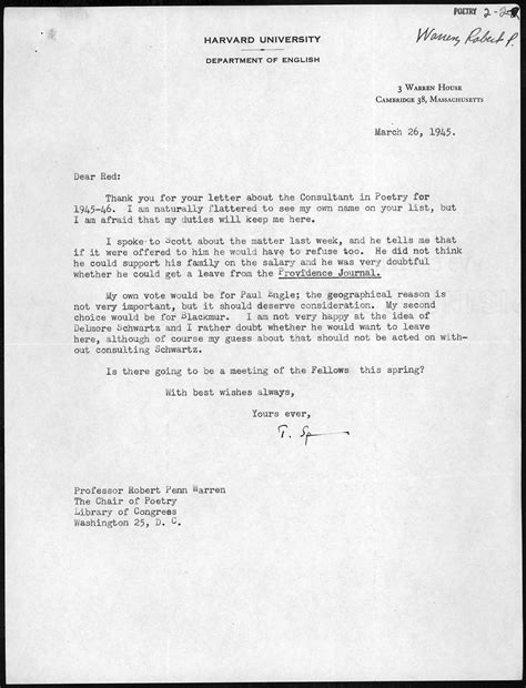 Guarantee Letter For Container Letter From Theodore Spencer To Robert Penn Warren March 26 1945 Library Of Congress