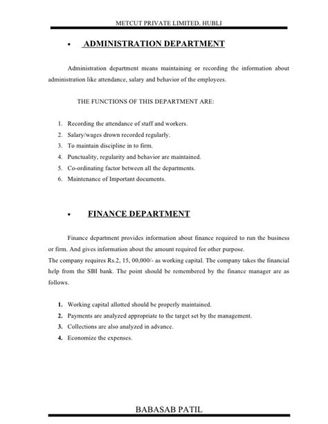 Mba Project Report On Employee Absenteeism by Absenteeism And Satisfaction At Metcut Tooling Ltd