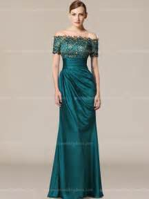 Long satin mother of the bride dress with short sleeves