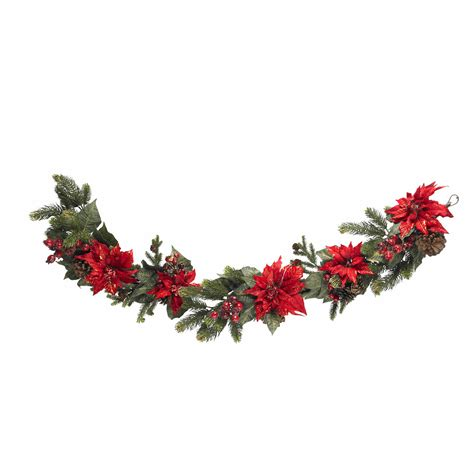 60 inch poinsettia and berry garland 4916