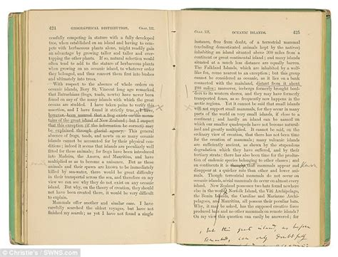 on the origin of species annotated books charles darwin book sells for world record 163 788 000