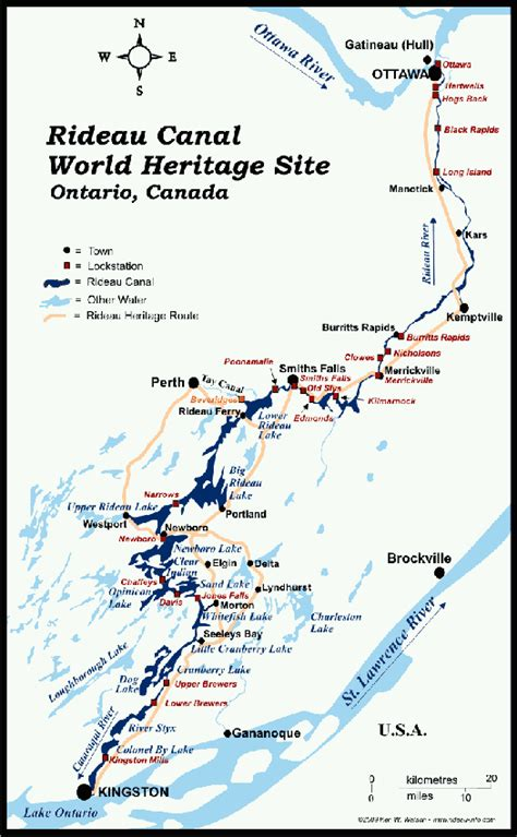 canadian heritage map rideau heritage route