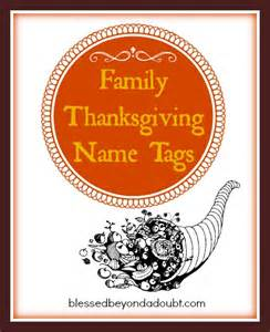 thanksgiving names free family thanksgiving name tags blessed beyond a doubt