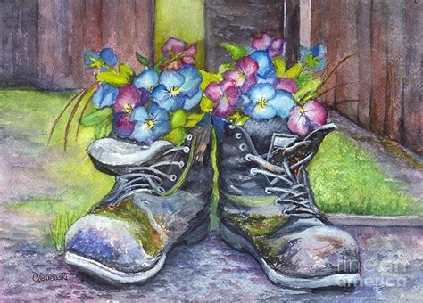 These Boots Are Made Forpaintin by These Boots Were Made For Planting Painting By Carol