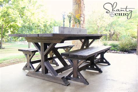 outdoor farm table and bench diy bench farmhouse style shanty 2 chic