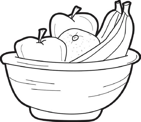 coloring page bowl coloring page of fruit bowl food pinterest