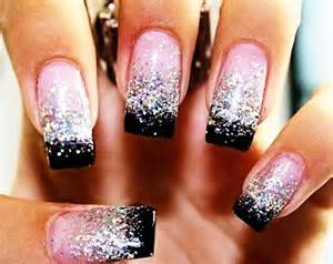 black french nails with glitter glitter black tip french nails