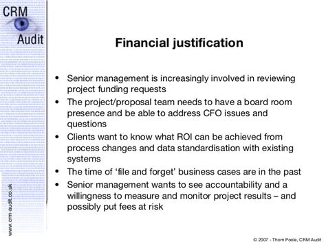 Financial Justification Letter the business for crm