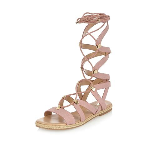 gladiator sandals lace up lyst river island pink lace up gladiator sandals in pink