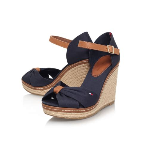 d sandals hilfiger emery 54d high wedge heel sandals in blue