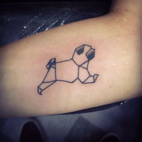 geometric tattoo geometric pug tattoo on inner forearm