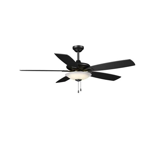 matte black ceiling fan with light hton bay menage 52 in integrated led indoor low