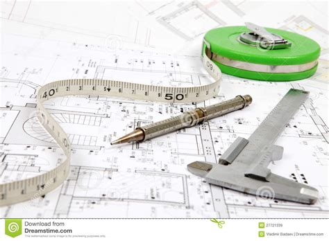 tools for home renovation on architectural drawing royalty