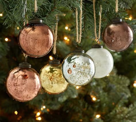 natural tone mercury glass ball ornaments set of 6