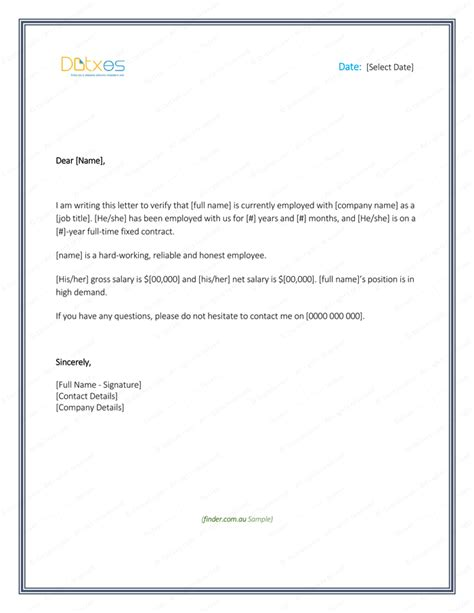 Employment Confirmation Letter Format For Bank Employment Verification Letter 4 Printable Formats Sles