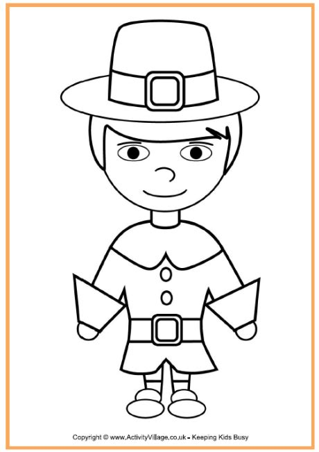 pilgrim color pilgrim boy colouring page thanksgiving colouring pages