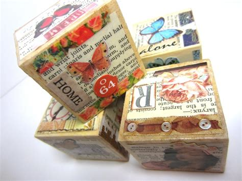 how to decoupage a collage onto blocks