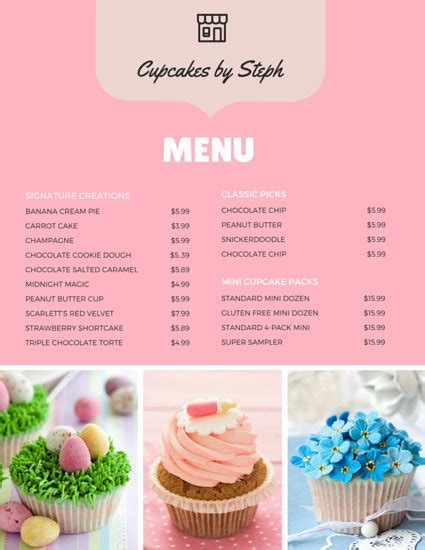 cupcake menu card template minimalist illustration bakery monthly menu templates by