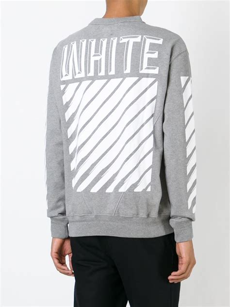 White Sweater S White Jaket Jaket Hoodie Berkualitas white c o virgil abloh striped print sweatshirt in gray for lyst