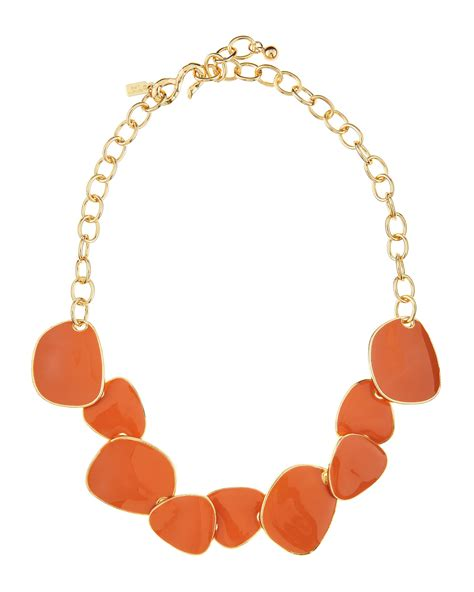 Kenneth Lanes Lipstick Necklace At Outfitters by Kenneth Coral Enamel Hammered Golden Bib Necklace
