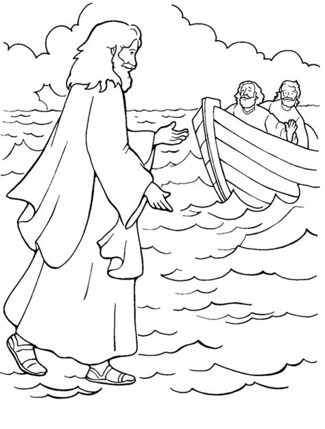 coloring pages jesus first miracle one of miracles of jesus is walking on water coloring page