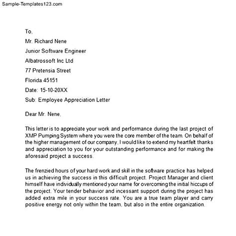 appreciation letter to employee in india sle employee appreciation letters thank you letter to