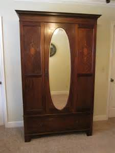 antique armoire with mirror and drawers antique beveled mirror inlaid wood armoire antique
