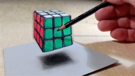 How To Make 3d Stuff Out Of Paper - anamorphic illusion drawing levitating 3d rubik s cube