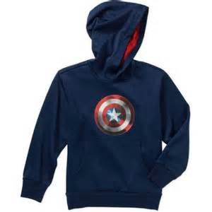 Marvel captain america shield raised boys hoodie with mesh lined hood