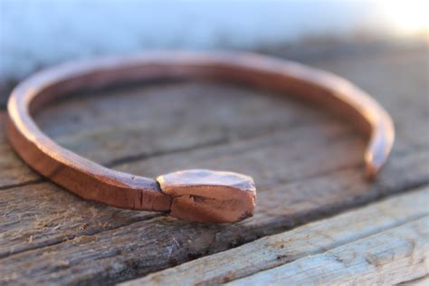 Handmade Mens Leather Cuff Bracelets - mens nail bracelet copper cuff custom handmade mens