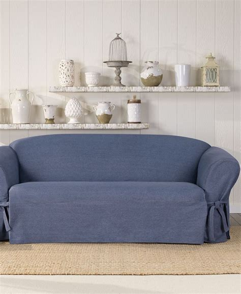 denim slipcovers for sofas sure fit authentic denim one piece t cushion sofa