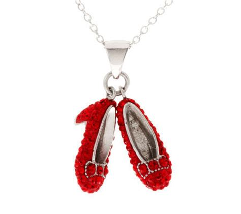 ruby slipper necklace wizard of oz sterling small ruby slippers pendant
