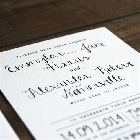 Wedding Invitation Letterhead calligraphy wedding invitation stationery by feel