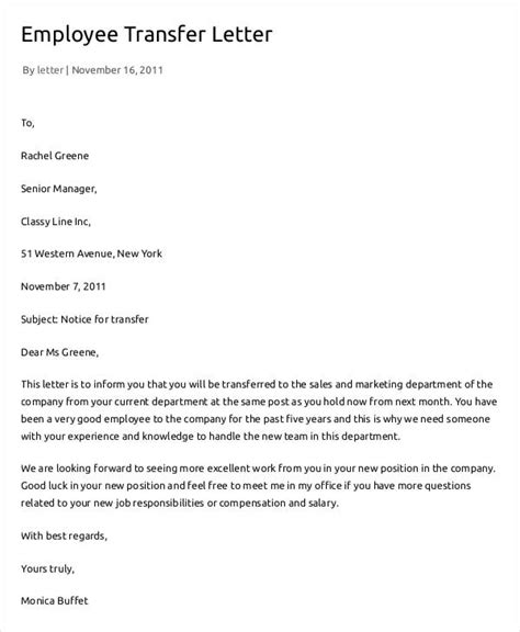 Transfer Letter Format From One Place To Another 7 employee transfer letter templates free sles