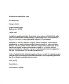 Promotion Cover Letter Template by Letter Of Recommendation For Promotion Sle